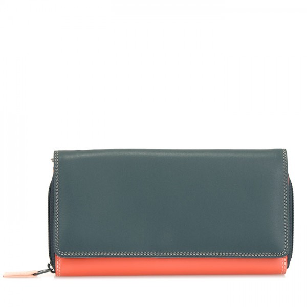 Large Flapover Zip Purse Urban Sky