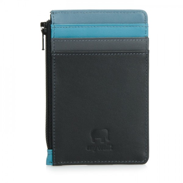 Credit Card Holder with Coin Purse Black Smokey Grey