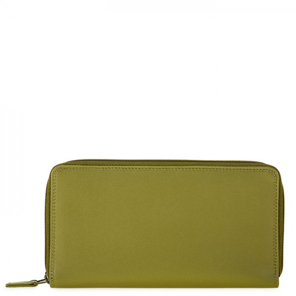 Large Double Zip Wallet Olive