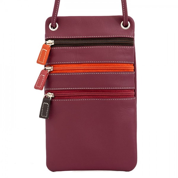 Leather Travel Neck Purse Chianti