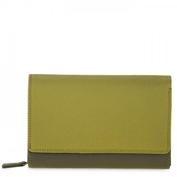 Medium Leather Flapover Wallet Olive
