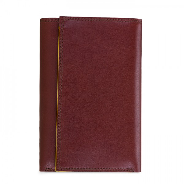 Men's Tri-fold Wallet with Zip Brown-Yellow