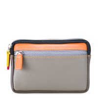 Small Leather Double Zip Purse Fumo