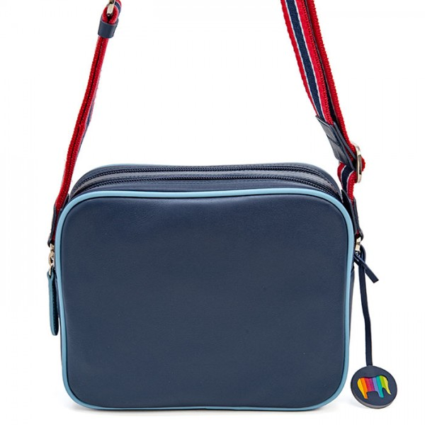 Borsa Auckland doppia zip media in pelle Blu