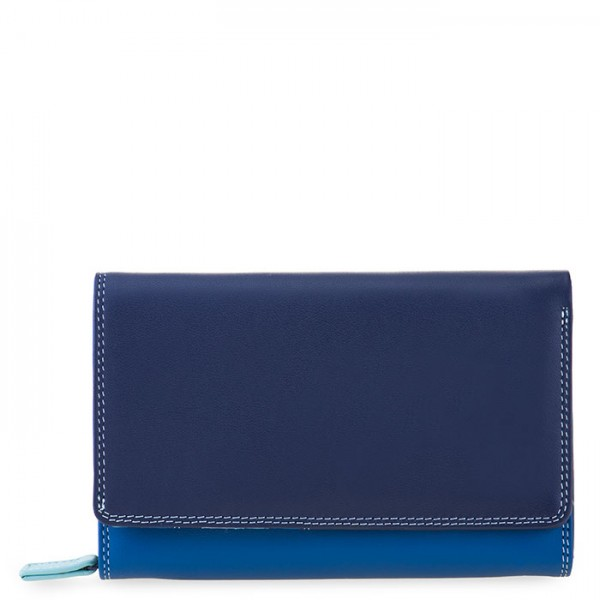 Medium Leather Flapover Wallet Denim