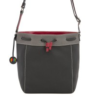 Ancona Large Leather Drawstring Bag Storm