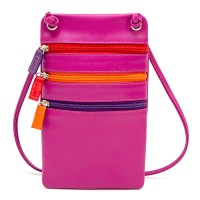 Leather Travel Neck Purse Sangria Multi