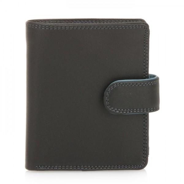 Dreifach faltbare Geldbörse mit Verschlusslasche Black Smokey Grey