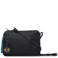 Bruges Double Zip Cross Body Black Smokey Grey