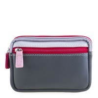 Small Leather Double Zip Purse Storm