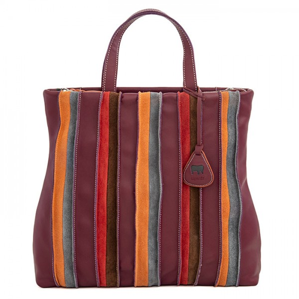 Laguna Large Leather and Suede Shopper Chianti