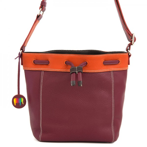 Ancona Small Leather Drawstring Bag Chianti