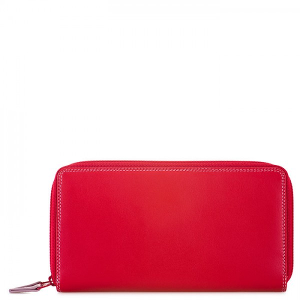 Large Double Zip Wallet Ruby