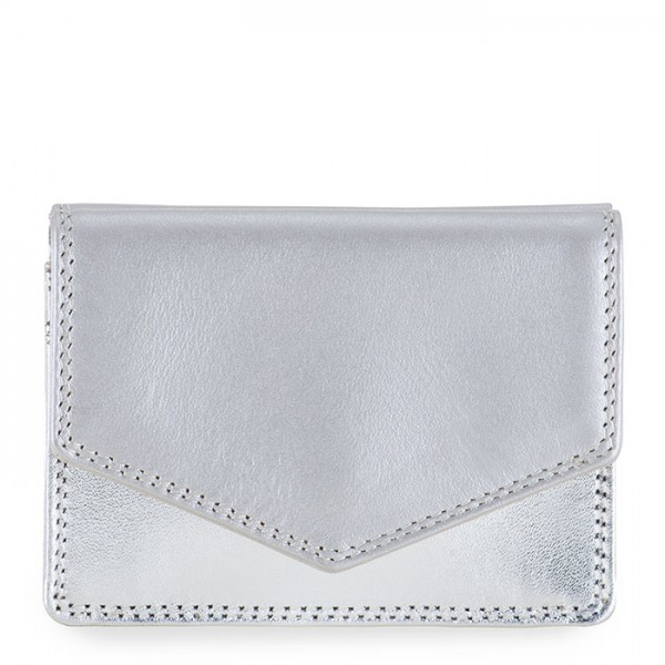 Tri-fold Leather Wallet Silver