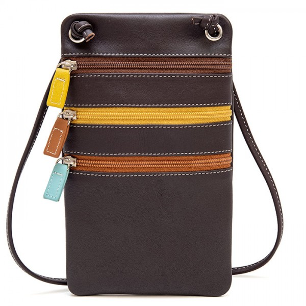 Leather Travel Neck Purse Mocha