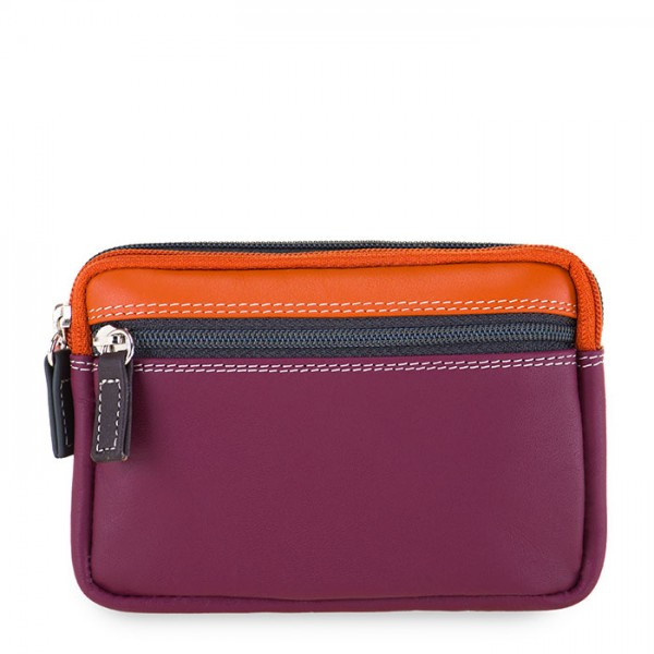 Small Leather Double Zip Purse Chianti