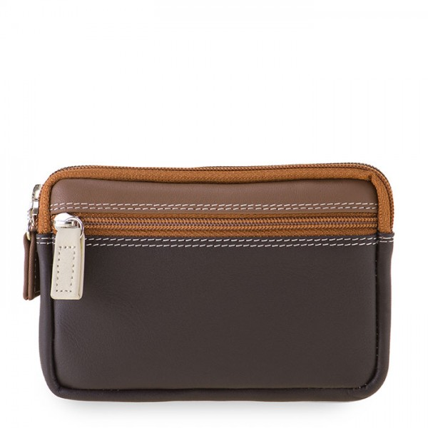 Small Leather Double Zip Purse Mocha