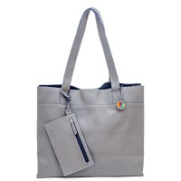 Vancouver Large Leather Tote Grey