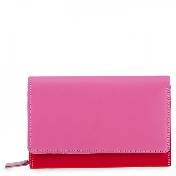 Medium Leather Flapover Wallet Ruby