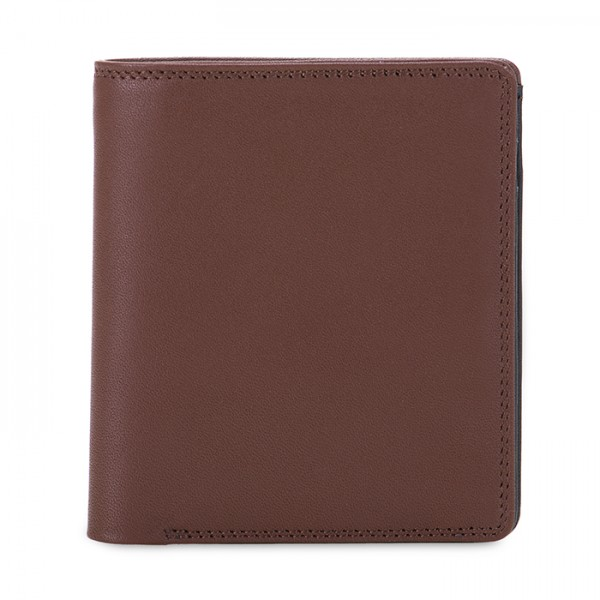 RFID Men's Bi-fold with Pull Out Tab Nappa Cacao