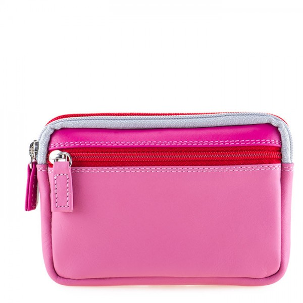 Small Leather Double Zip Purse Ruby
