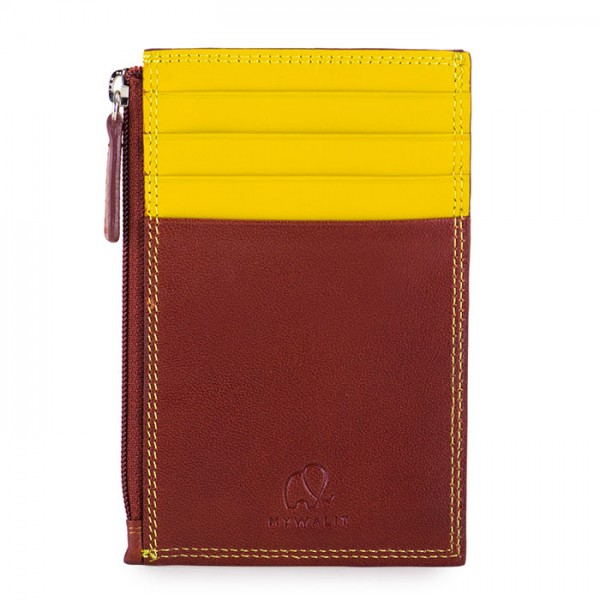 RFID CC Holder with Coin Purse Brown-Yellow