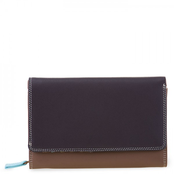 Medium Leather Flapover Wallet Mocha