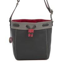 Ancona Small Leather Drawstring Bag Storm