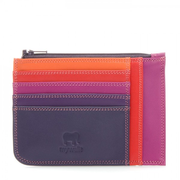 Slim Credit Card Holder with Coin Purse Sangria Multi