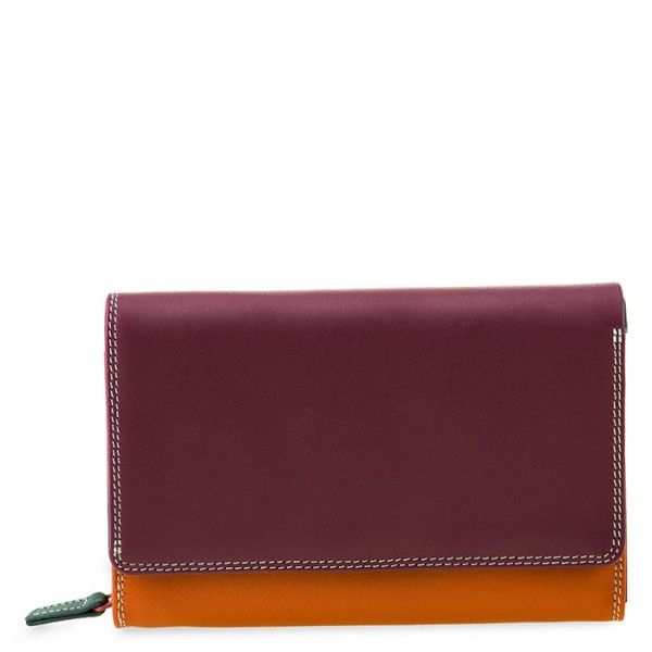 Medium Leather Flapover Wallet Chianti