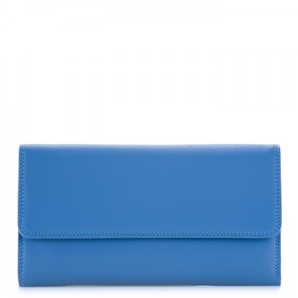 RFID Tri-fold Zip Wallet River Blue
