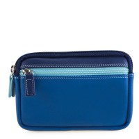 Small Leather Double Zip Purse Denim