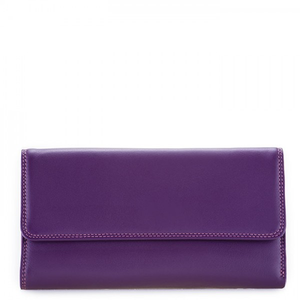 RFID Tri-fold Zip Wallet Purple