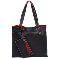 Vancouver Large Leather Tote Black