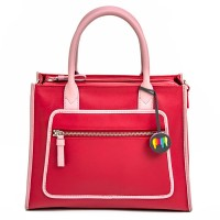 Montreal Leahter Grab Handle Bag Strawberry