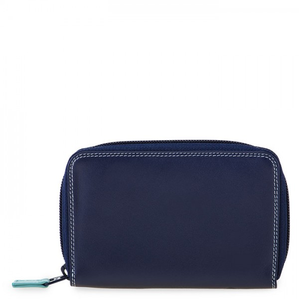 Medium Leather Zip Around Wallet Denim
