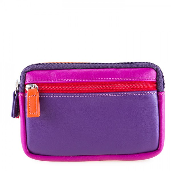 Small Leather Double Zip Purse Sangria Multi