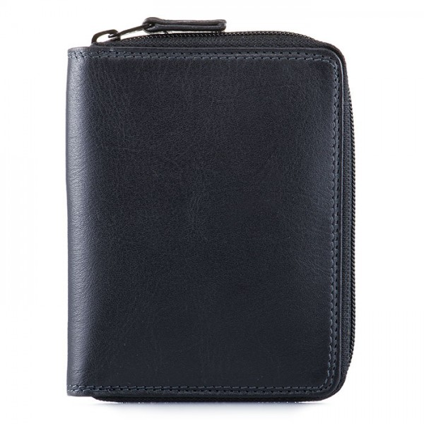 Men's Coin Tray Wallet Black Smokey Grey