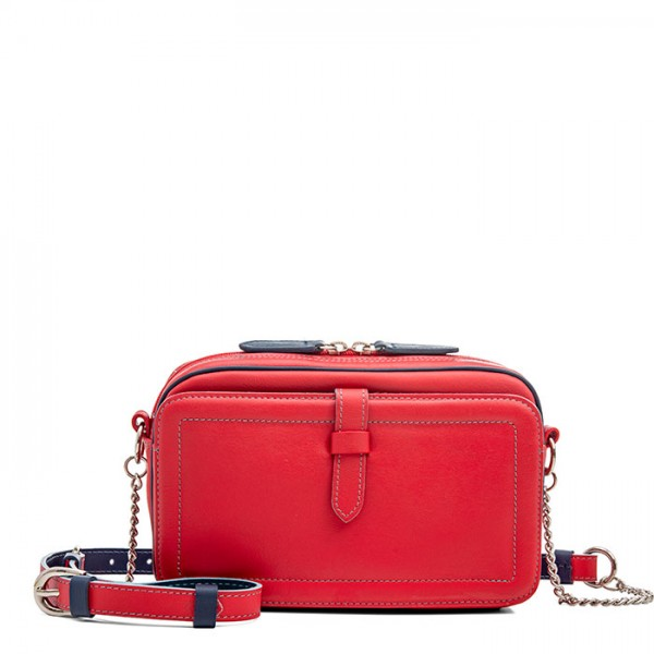 Small Leather Shoulder Bag Red