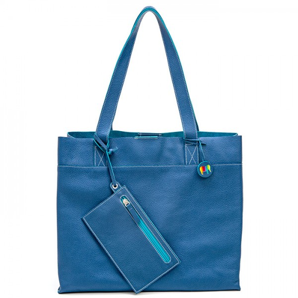 Vancouver Large Leather Tote Cobalt