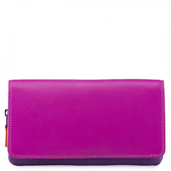 Flapover Wallet with Coin Section Sangria Multi
