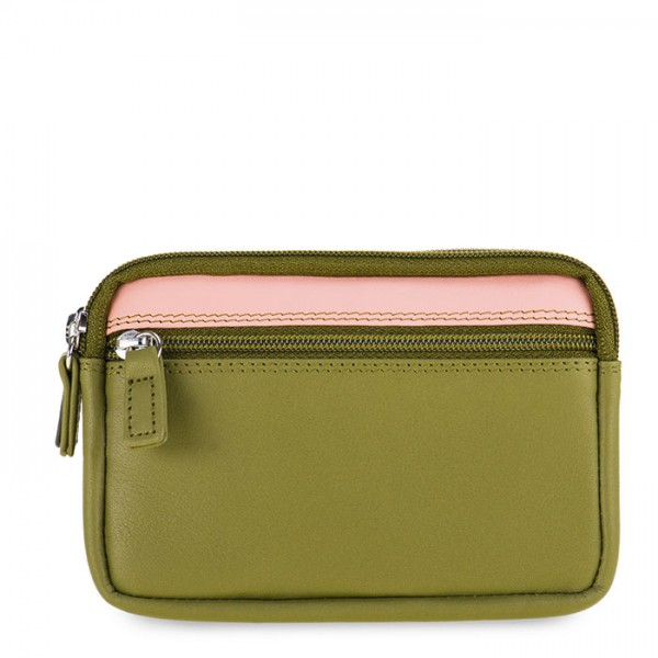 Small Leather Double Zip Purse Olive